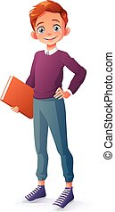 Vector smart smiling young school student boy holding book....