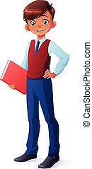 Vector intelligent young school boy in uniform standing with...