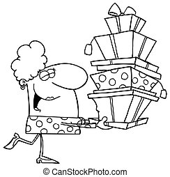 Outlined Shopper Lady  - Happy Holidays Blond Lady Shopper