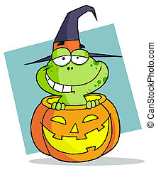 Cartoon Character Halloween Frog - Happy Frog Popping Out Of...