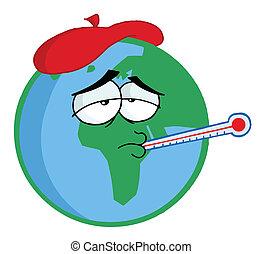Sick Planet Earth Wearing An Ice Pack, A Thermometer Stuck...