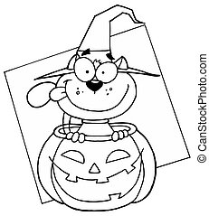 Outlined Cat in Pumpkin - Outlined Mascot Cartoon Character...