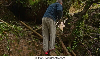 Backside Man Picks Way through Branches in Forest in Tropics...
