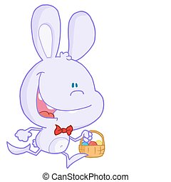 Happy Pale Purple Bunny Running With Easter Eggs In A...
