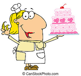Caucasian Cartoon Cake Baker Woman - Happy Caucasian Cartoon...