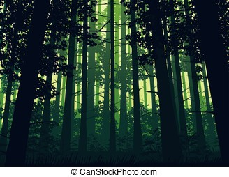 Background of landscape with deep forest. - A high quality...