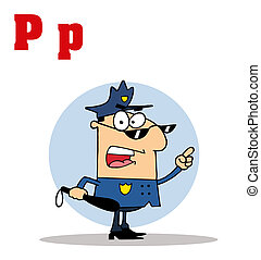 Cop With Letters P - Funny Cartoons Alphabet-Cop With...