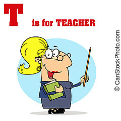 Female Teacher With Letters T - Funny Cartoons Alphabet with...