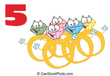Red Number Five Over Gold Rings