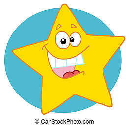 Happy Star Mascot Cartoon Character - Excited Yellow Star...