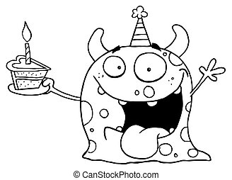 Outlined Birthday Monster - Happy Monster Celebrates...