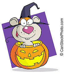 Cartoon Character Halloween Mouse - Happy Mouse Popping Out...