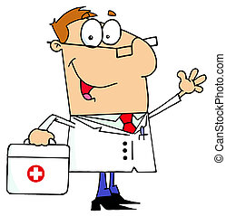 Caucasian Cartoon Doctor Man Carrying His Medical Bag
