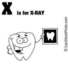 X Is For Xray Text - Outlined Tooth Holding An Xray With X...