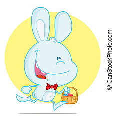 Bunny Running with Easter Eggs - Happy Pale Blue Rabbit...