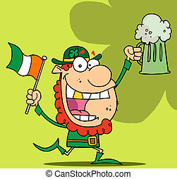 Happy Leprechaun With Beer
