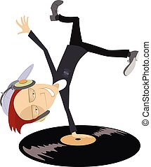 Cartoon funny DJ illustration - Cartoon funny DJ with...