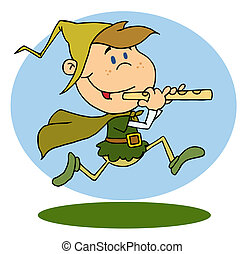 Running Piper - Piper Boy With Hat And Cloak Running A Pipe...