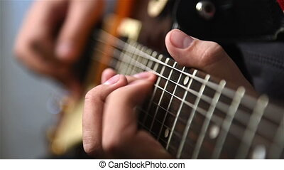 Guitarist Plays Rock Music - Guitarist Playing Guitar Solo...