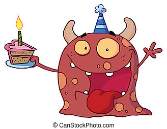 Happy Red Monster - Excited Birthday Monster Wearing A Party...