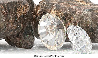 Brilliant diamonds and rocky boulders 3d illustration -...