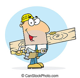 Caucasian worker man a wood plank - Carpenter with wood...