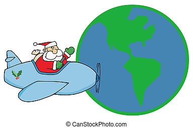 Santa fly around the world - Waving father christmas flying...