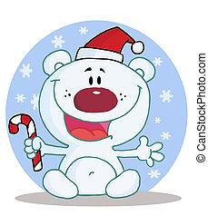 Christmas Polar Bear - Joyous Christmas Polar Bear Holding A...
