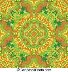 Colorful lace pattern with ornate elements. Yellow green abstract background. Vector stock illustration.