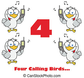Calling Birds Holding A Cell Phones - Red Number Four With...