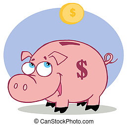 Happy Piggy Bank Watching A Coin Fall Into His Slot