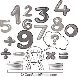 Girl thinking about math problem