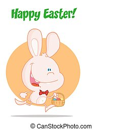 Pink bunny running with easter eggs - Happy Easter Greeting...