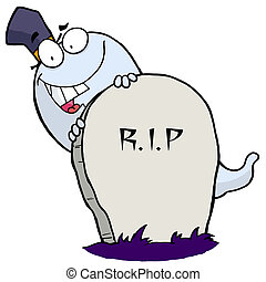 Happy ghost behind the tombstone - White Halloween Ghost...