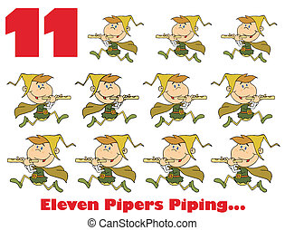 Red Number 11 And Text By Eleven Pipers Piping