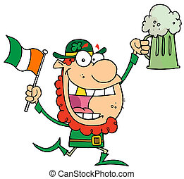 Happy Leprechaun With A Golden Tooth, Running With Green...