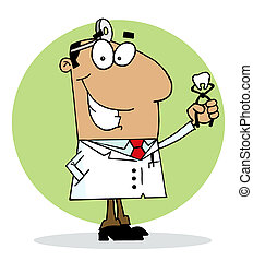 Happy Dentist Man - Hispanic Cartoon Dentist Man Holding A...