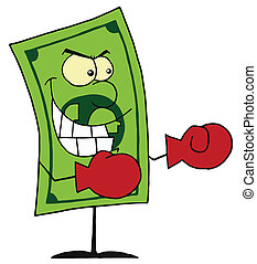 Dollar Bill Wearing Boxing Gloves - Dollar bill wearing...