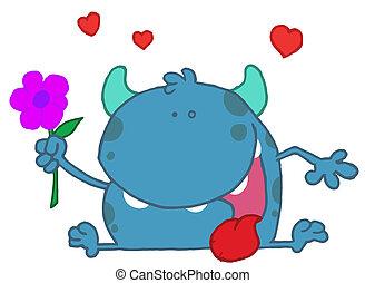 Blue Monster Holding A Flower