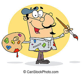 Happy Artist Painter - Sloppy Caucasian Cartoon Artist...