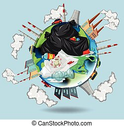 World full of pollutions and trash illustration