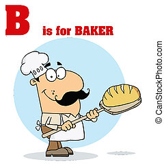 Male Baker With B - Funny Cartoons Alphabet with Text-B