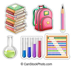 Set of educational equipments illustration