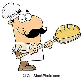 Bread Baker Man - Caucasian Cartoon Bread Baker Man