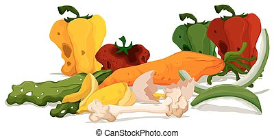Pile of rotten food illustration