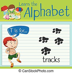 Flashcard letter T is for tracks illustration