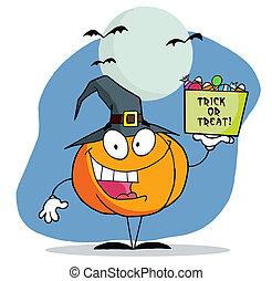 Cartoon pumkin a bag of candy
