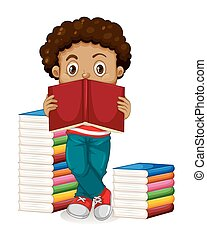 African American boy reading books