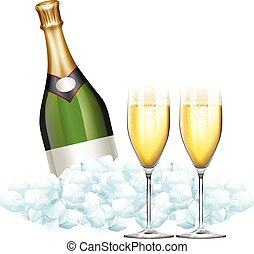 Two glasses of champagne and bottle in ice