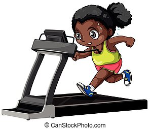 African american girl running on treadmill